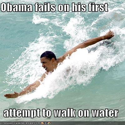 obama walk on water