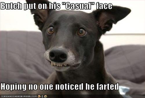 fart face when passing gas
