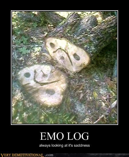 Image is a stump and fallen log. Natural patterns in the wood have the appearance of an unhappy face. Caption says:Emo Log: always looking at its sadness. (Grammar and spelling corrected.)