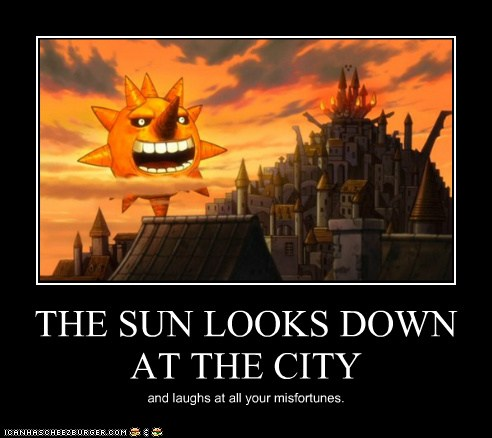 THE SUN LOOKS DOWN AT THE CITY