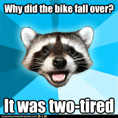 Lame Pun Coon: Bikes With Training Wheels Have the Energy to Go All Night