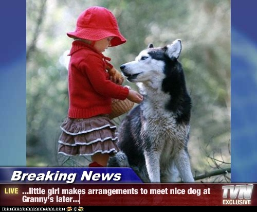 Breaking News - ...little girl makes arrangements to meet nice dog at Granny's later...
