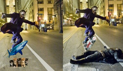 The Joker Does a Kickflip over Batman, and Naturally We Have to Photoshop It