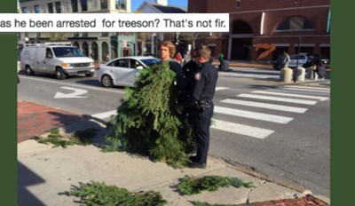 Twitter is Blossoming With Puns for This Video of a Police Officer Arresting a Man Dressed as a Tree