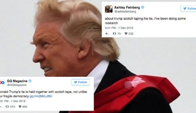 Awkward Picture Shows Donald Trump's Tie Is Held Together by Scotch Tape