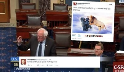Bernie Sanders Brought a Big Sign to the Senate and a New Meme to Twitter