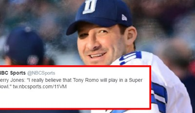 The EA Sports Madden Account Ruthlessly Tackles Tony Romo on Twitter After Jerry Jones's Super Bowl Comment