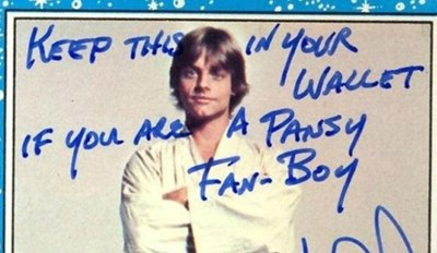 Mark Hamill's Autographs are the Definition of Artful Trolling