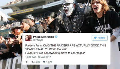 Oakland Raiders File to Move to Las Vegas, and the Twitter Reactions Rollin in Are Golden