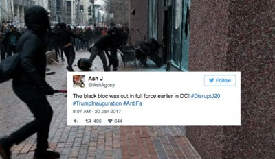 Feast Your Weary Eyes on All the Fights, Chaotic Rioting, Property Damage, and Flash Bangs from Trump's Inauguration
