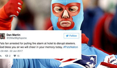 Patriots Fan Arrested for Pulling Fire Alarm at 3AM at Steelers' Hotel, and Twitter's Having a Great Time With It