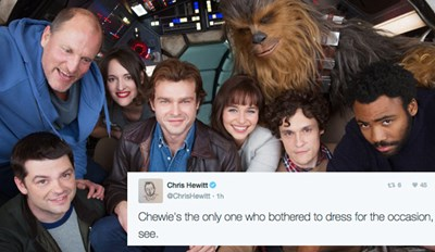 A Bunch of Scruffy Looking Nerfherders Pose for the First Han Solo Movie Cast Photo