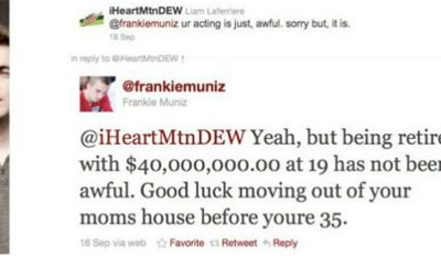 Ten more times people set themselves up to be destroyed on social media - cover graphic of Frankie Muniz responding to a tweet about his acting.