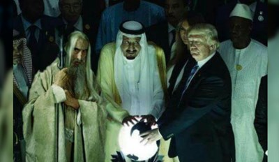 Trump stands next to the orb in Saudi Arabia with Saruman photoshopped into the photo - cover photo for a daily helping of fresh and funny memes