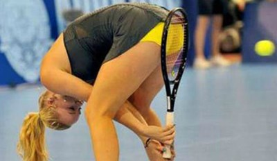 girl hits a tennis ball with her crotch - cover photo to a list of women fails