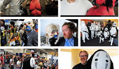 Cool pics of Adam Savage from Mythbusters as dressed up in full cosplay at conventions.