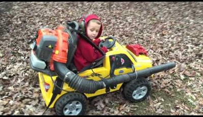 Exponentially Increase the Chances of Your Kid Doing Chores by Fitting Their Power Wheels Car With a Leaf Blower