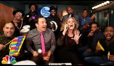 Jimmy Fallon, The Roots, and Adele Perform 'Hello' With Classroom Instruments