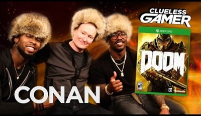 Conan O'Brien Plays Doom With a Couple of Super Bowl Football Players