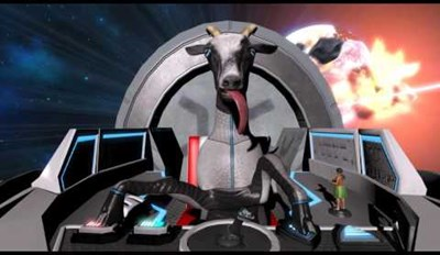 Your Day Can't Get Any Better Than a Bunch of Crazy Goats Trying to Kill Each Other in Space With an Arnold Schwarzenegger Status Voiceover