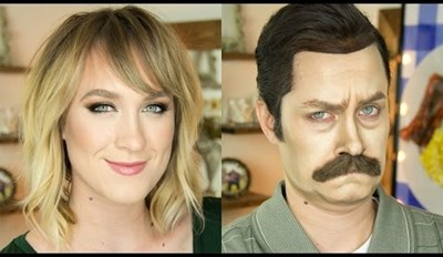 Watch a Woman Use the Power of Makeup to Become Ron Swanson