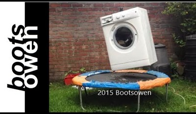 Therapy of the Day: Watch This Washing Machine with a Brick In It Bounce On A Trampoline