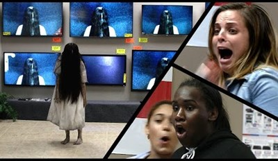 Watch that Girl from The Ring Crawl Out of a Real TV and Scare that Shit Out People in a Prank That IS NOT FUNNY, OK?