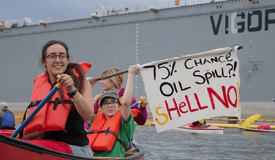 Protest of the Day: ShellNo Activists Hang from a Portland Bridge to Block Arctic Oil Drilling