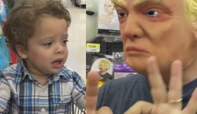 Watch This Kid Have a Meltdown When His Dad Puts on the Donald Trump Mask