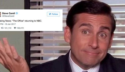 """Steve Carell Goes Full Michael Scott and Trolls Twitter With """"The Office"""" Come Back Tweet"""