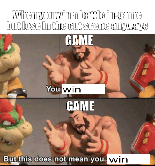 """simply the best memes from all around the internet all in one place for you to enjoy from the comfort of your home or office. The cover photo is of a meme comparing the idea of """"winning"""" a battle in a game, but in the next cutscene you lose anyways."""