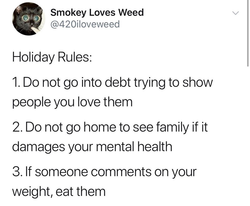 collection of funny memes and tweets | Text - Smokey Loves Weed @420iloveweed Holiday Rules: 1. Do not go into debt trying to show people you love them 2. Do not go home to see family if it damages your mental health 3. If someone comments on your weight, eat them