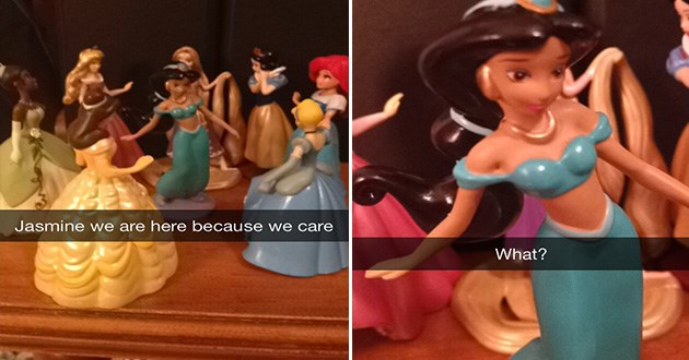 funny staged intervention scene using disney princesses figurines, all the princesses tell jasmine they're here because they care and jasmine is confused