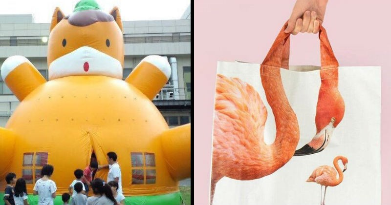 Funny and stupid design fails from people who had one job | yellow cat inflating bouncing castle badly designed so that kids enter it through a slit at the front. shopping bag printed with an image of a flamingo in a way that looks like the person holding the bag is choking the bird/