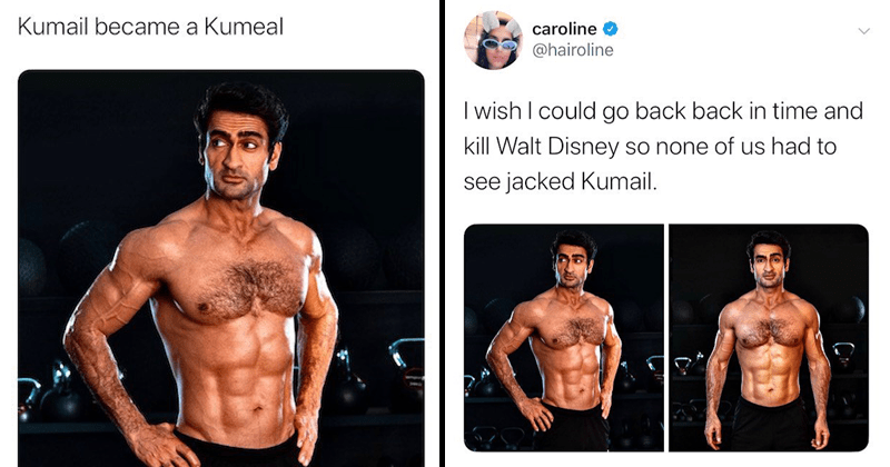 funny tweets about kumail nanjiani shirtless | @hairoline wish could go back back time and kill Walt Disney so none us had see jacked Kumail.