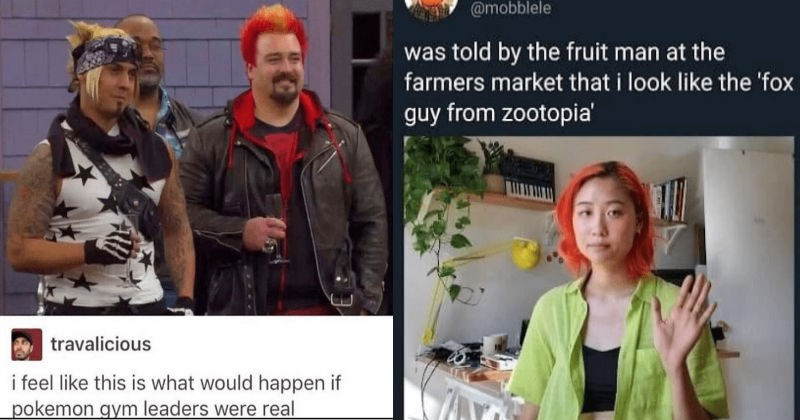 A collection of creative and mean insults to people on Reddit | two men in colorful eye catching outfits and hairstyles, comment by travalicious feel like this is would happen if pokemon gym leaders were real. person with bright red hair wearing a green shirt mobblele told by fruit man at farmers market look like fox guy zootopia