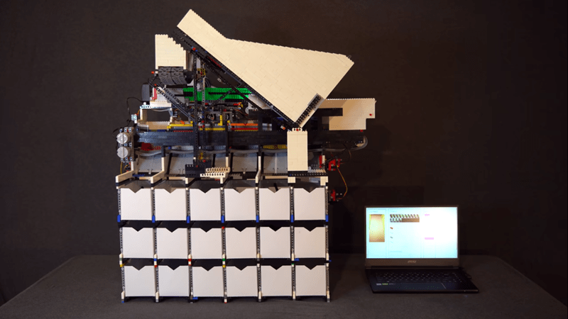this machine is built out of lego and sorts lego using artificial intelligence