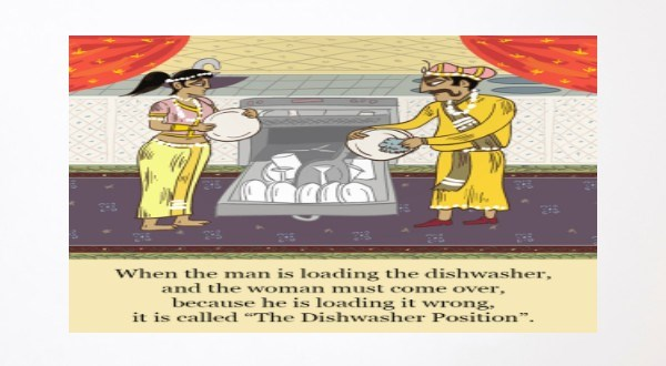 the married kama sutra version | the man is loading dishwasher, and woman must come over, because he is loading wrong is called Dishwasher Position