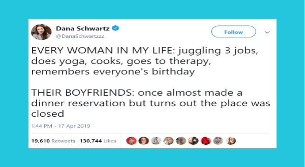 funniest relationship tweets of 2019 | tweet by DanaSchwartzzz EVERY WOMAN MY LIFE: juggling 3 jobs, does yoga, cooks, goes therapy, remembers everyone's birthday THEIR BOYFRIENDS: once almost made dinner reservation but turns out place closed