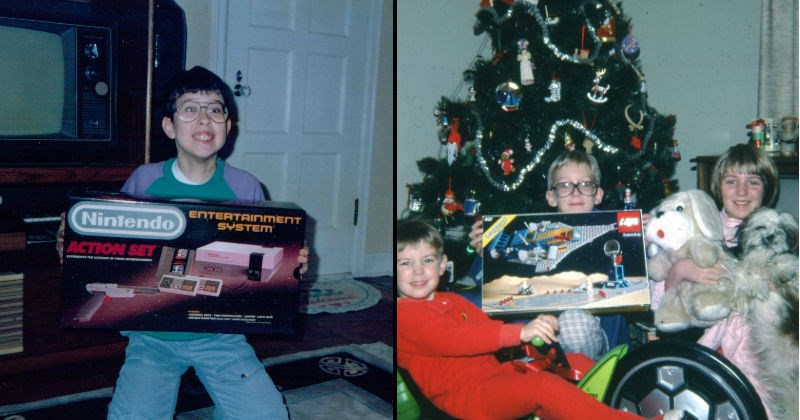 Photos of toys on Christmas morning from the 80s | excited child from the 80s holding a box labeled ENTERTAINMENT SYSTEM Nintendo ACTION SET. bunch of kids under a christmas tree posing with a bike, a spaceship lego set and a large dog plushie