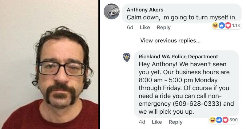 "Guy responds to a police ad for his own ""Wanted"" poster on Facebook 