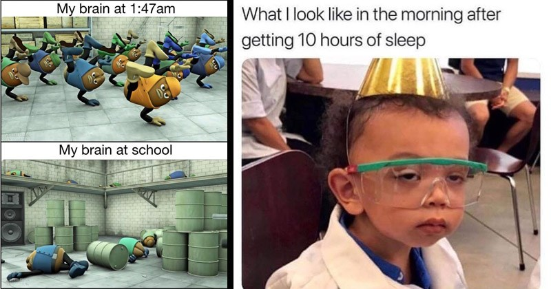 Funny memes about sleep | child in party hat and lab safety goggles looking sleepy look like morning after getting 10 hours sleep. My brain at 1:47am My brain at school