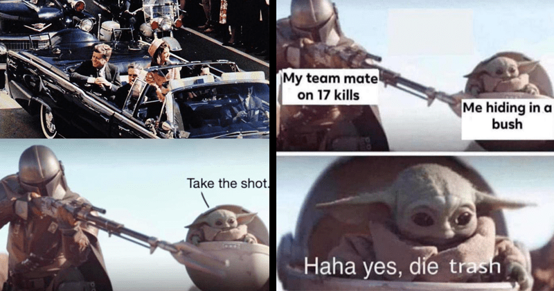 baby yoda take the shot memes, the mandalorian