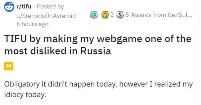 Design fail makes guy's game have a huge number of dislikes | SteroidsOnAsteroid TIFU by making my webgame one most disliked Russia M Obligatory didn't happen today, however realized my idiocy today am small game developer part-time also have regular job Since more than 1 year have been working alone on puzzle-platformer been thinking 2 years.