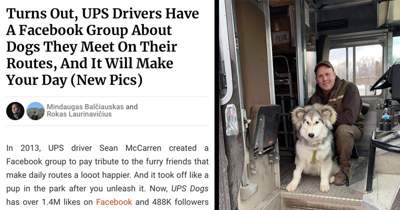 Cute photos of animals that UPS drivers meet on their routes | Turns Out, UPS Drivers Have Facebook Group About Dogs They Meet On Their Routes, And Will Make Day 2013, UPS driver Sean McCarren created Facebook group pay tribute furry friends make daily routes looot happier. And took off like pup park after unleash Now, UPS Dogs has over 1.4M likes on Facebook and 488K followers