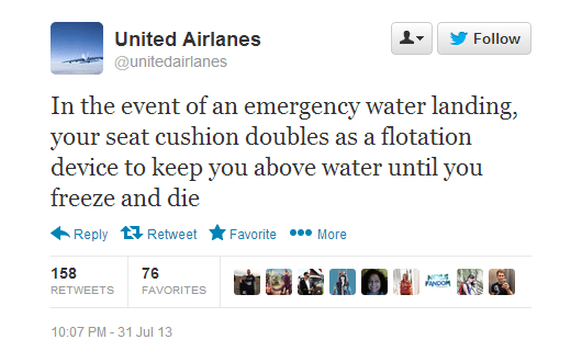 twitter twitter trolling united airlanes fake twitter accounts parody accounts airplanes united airlines flying monday thru friday failbook - 100613