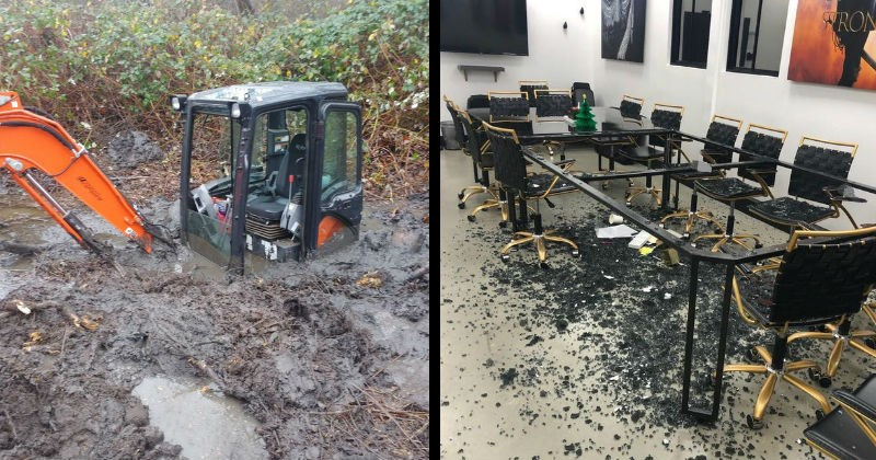 Fails, mistakes and messes | vehicle almost entirely sunk in mud with just the cabin visible, a completely shattered glass table in a meeting room surrounded by chairs
