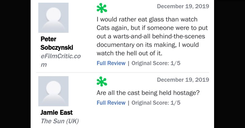 Funny reviews of the movie 'Cats' | rotten reviews from rotten tomatoes would rather eat glass than watch Cats again, but if someone were put out warts-and-all behind--scenes documentary on its making would watch hell out Original Score: 1/5 Peter Sobczynski Are all cast being held hostage? Original Score: 1/5 Jamie East