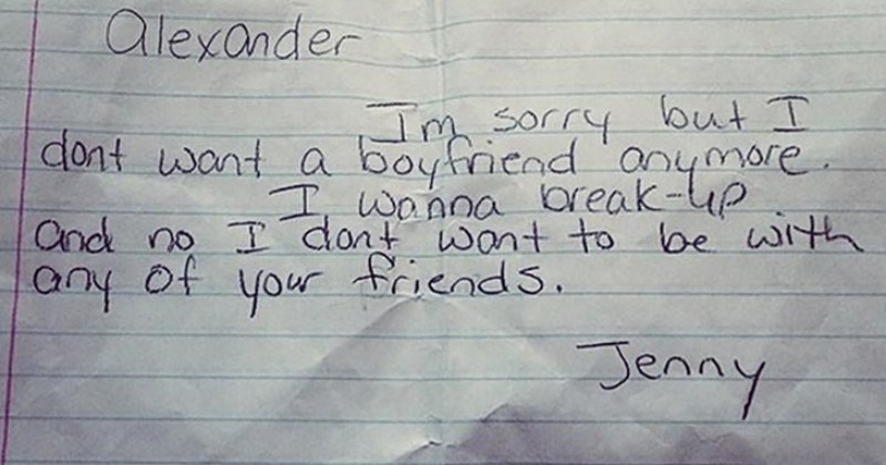 A collection of breakup texts between partners | hand written note Alexander Im sorry but dont want boyfriend anymore wanna break-up and no dont want be with any friends. Jenny