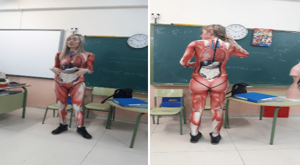 creative teacher teaches anatomy by wearing a bodysuit of the human body